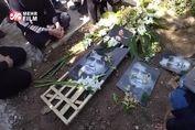 آوازخوانی عزاداران محمدرضا شجریان بر سر مزارش + فیلم
